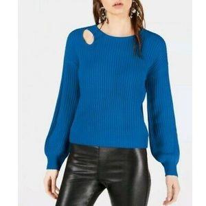 Bar III Balloon Sleeve Cutout Sweater- Beacon Blue